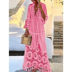 V-Neck Patchwork Floor-Length Travel Look Women's Dress