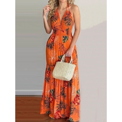 Sleeveless V-Neck Floor-Length Backless Flower Print Long Dress