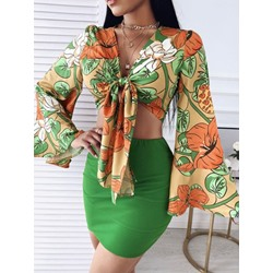 Floral Sexy Lace-Up Lace-Up Women's Two Piece Sets