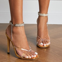 Shoespie Trendy Line-Style Buckle Thong Stiletto Heel Chain Sandals