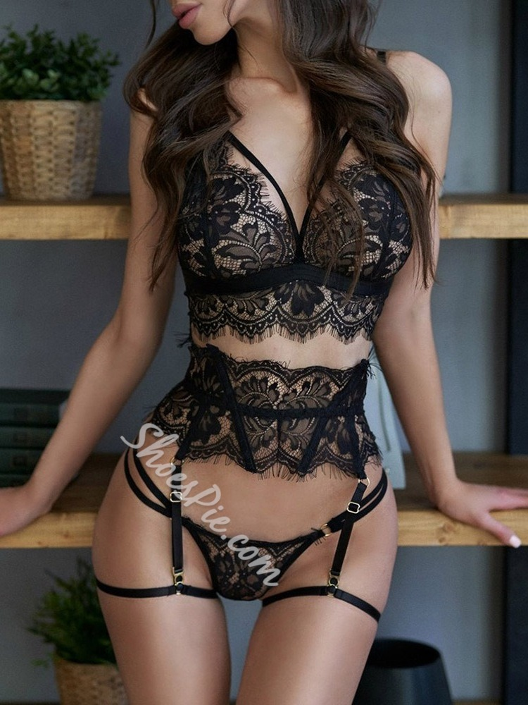 Lace Three-Point Plain Polyester Sexy Bra Sets