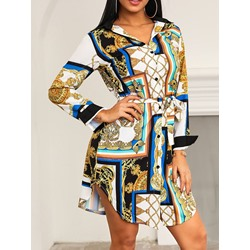 Above Knee Gold Chain Print Shirt Dress