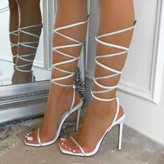 Shoespie Stylish Open Toe Stiletto Heel Lace-Up Banquet Sandals