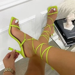 Shoespie Sexy Stiletto Heel Open Toe Lace-Up Cross Strap Sandals