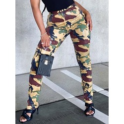 Patchwork Fashion Camouflage Mid Waist Women's Leggings