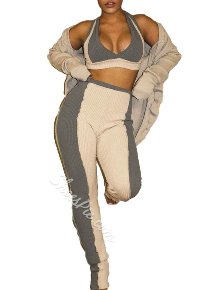 Polyester Patchwork Color Block Full Length Pullover Clothing Sets