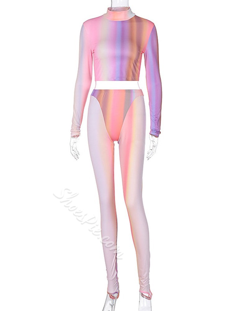 Polyester Gradient Patchwork Full Length Long Sleeve Clothing Sets