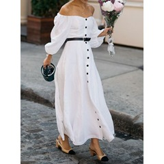Off Shoulder Long Sleeve Floor-Length Tie-Waist Dress