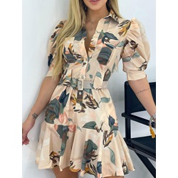 Half Sleeve Print Above Knee Pullover Women's Dress