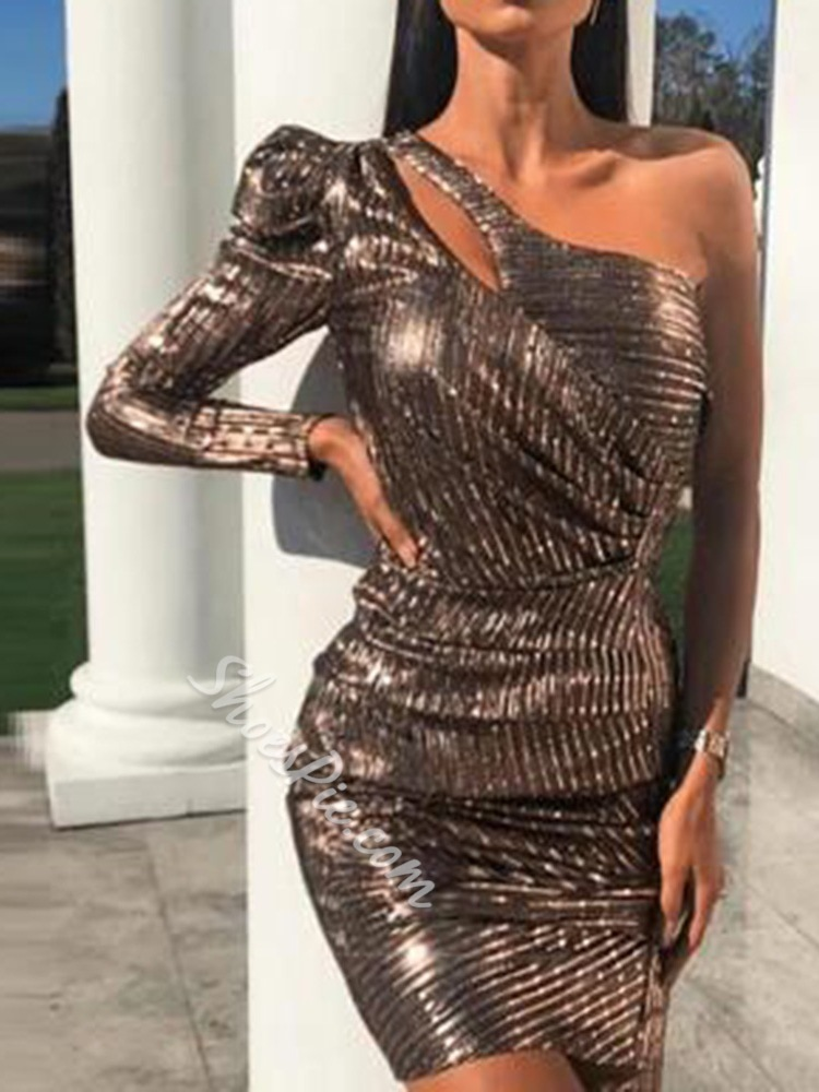 Above Knee Asymmetric Sequins One Shoulder Bodycon Party Dress