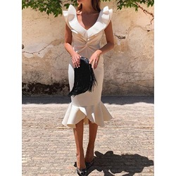 V-Neck Short Sleeve Patchwork Fashion Women's Dress