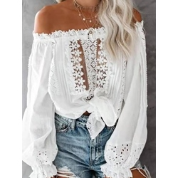 Off Shoulder Floral Hollow Long Sleeve Women's Blouse