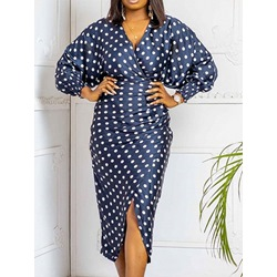 Mid-Calf V-Neck Nine Points Sleeve Polka Dots Women's Dress