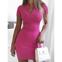 Zipper Short Sleeve Above Knee Plain Women's Dress