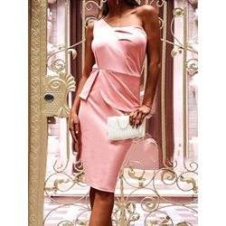 Sleeveless Knee-Length Asymmetric Bodycon Women's Dress