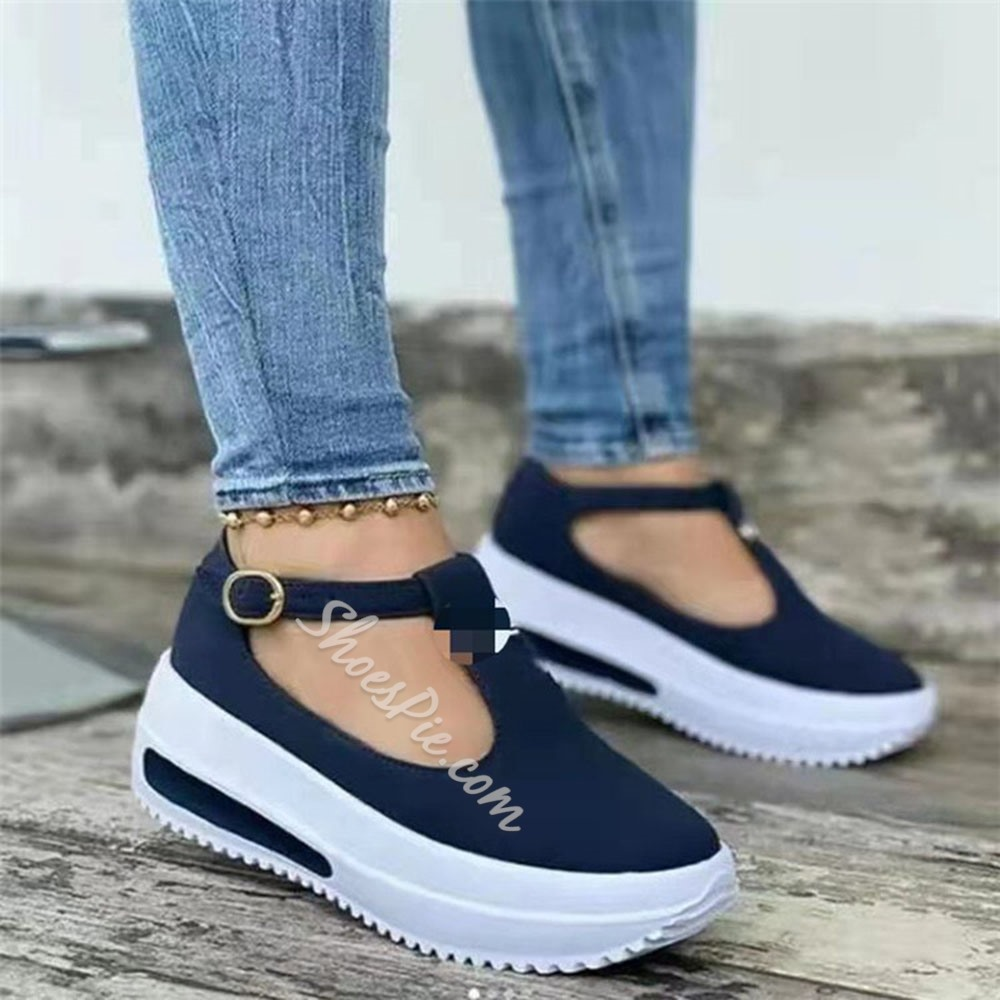Shoespie Stylish Round Toe Buckle Buckle Plain Thin Shoes