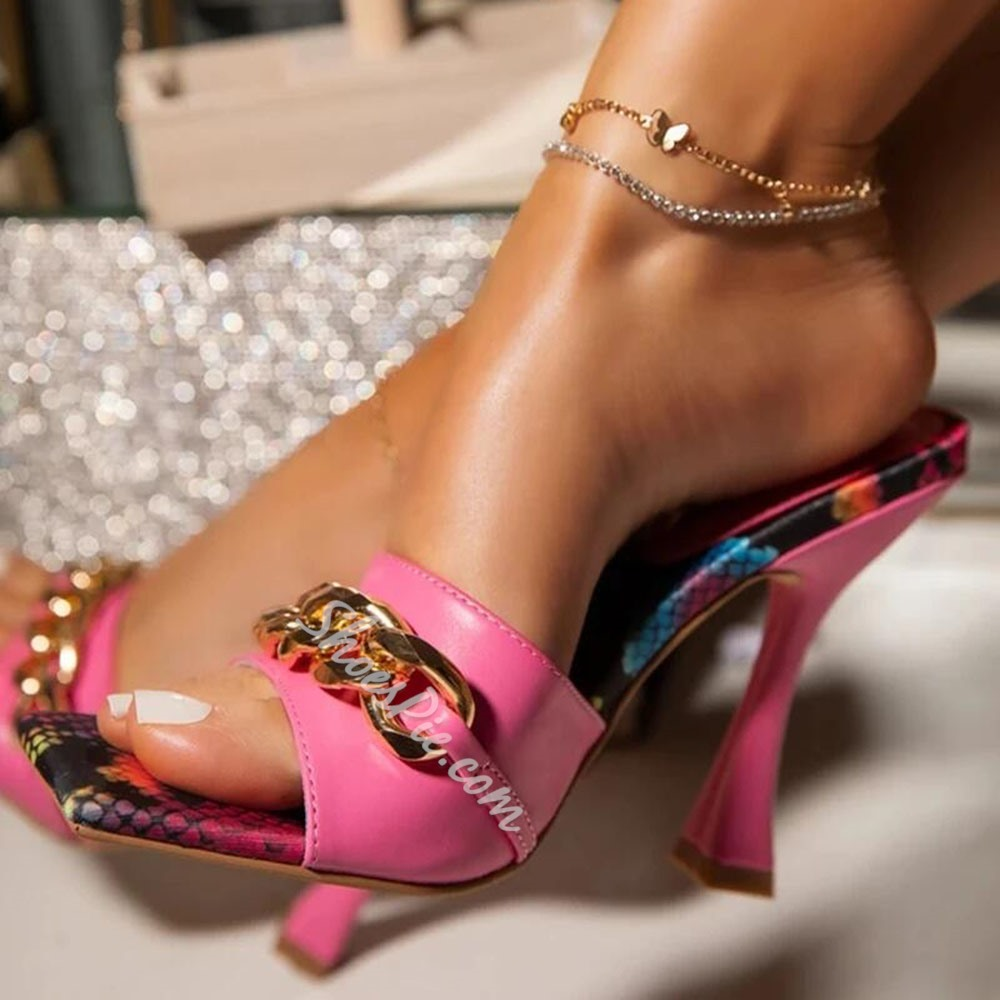Shoespie Sexy Stiletto Heel Sequin Toe Ring TPR Slippers