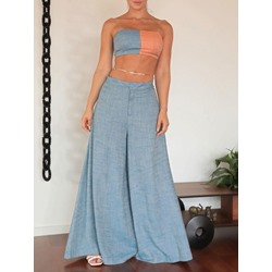 Pants Patchwork Color Block Wide Legs Women's Two Piece Sets
