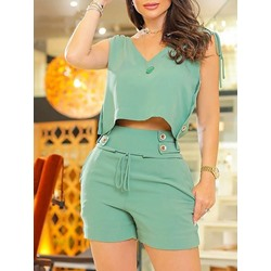 Casual Vest Lace-Up Straight Women's Two Piece Sets