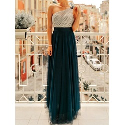 Mesh Floor-Length Sleeveless A-Line Women's Dress