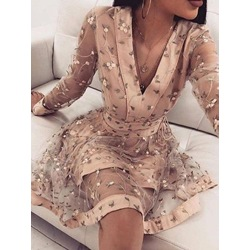 Embroidery Knee-Length V-Neck Floral Women's Dress