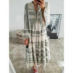 Long Sleeve Patchwork Ankle-Length Summer Women's Dress