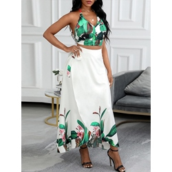 Plant Print Travel Look V-Neck Women's Two Piece Sets
