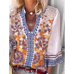 Floral Flare Sleeve Patchwork Standard Women's Blouse