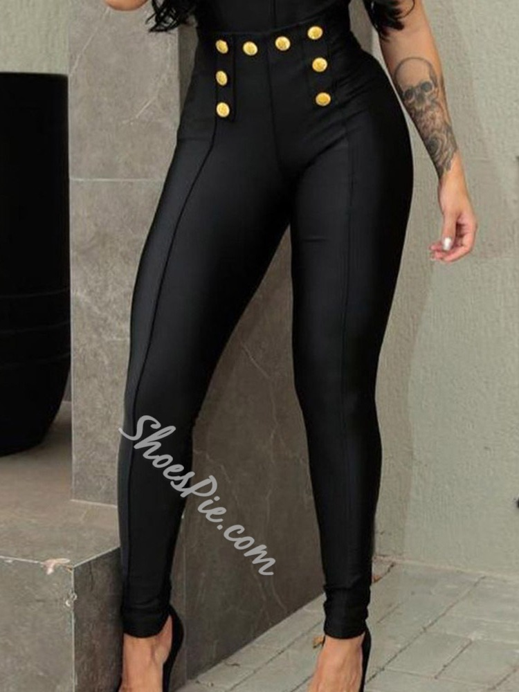 Slim Button Plain Pencil Pants Women's Casual Pants