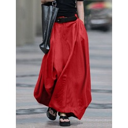 Patchwork Ankle-Length A-Line Casual Women's Skirt