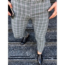 Print Plaid Button Fashion Casual Pants