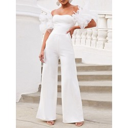 Full Length Patchwork Plain Wide Legs Women's Jumpsuit