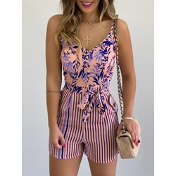 Fashion Floral Belt Wide Legs Women's Jumpsuit