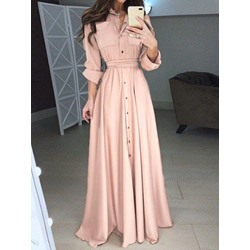Lapel Button Floor-Length A-Line Women's Dress