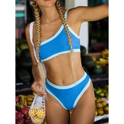 Tankini Set Color Block Simple Women's Swimwear