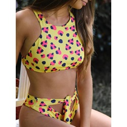 Patchwork Polka Dots Tankini Set Women's Swimwear