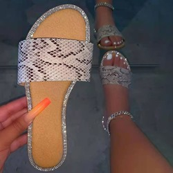 Shoespie Sexy Flat With Toe Ring Slip-On Geometric Slippers