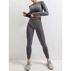 Solid Quick Dry Patchwork Nylon Long Sleeve Running Clothing Sets