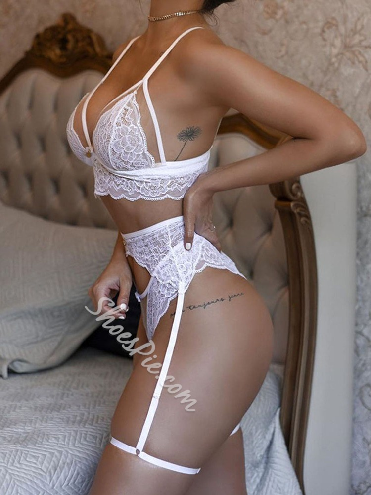 Three-Point Plain Lace Polyester Sexy Bra Sets