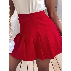 Patchwork Pleated Plain Simple Women's Skirt