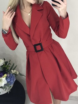 Above Knee Long Sleeve Fall Women's Blazer Dress