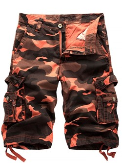 Straight Camouflage Pocket Summer Mid Waist Casual Pants