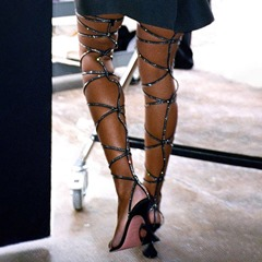 Pre-sale Stylish Open Toe Stiletto Heel Lace-Up Rhinestone Sandals