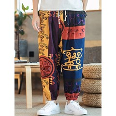 Print Knickerbockers Color Block Fall Lace-Up Casual Pants