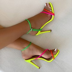 Pre-sale Trendy Elastic Band Stiletto Heel Open Toe Color Block Sandals