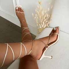 Pre-sale Stylish Stiletto Heel Lace-Up Open Toe Cross Strap Sandals