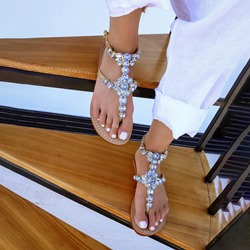 Pre-sale Sexy Flat With Thong Line-Style Buckle Western Sandals