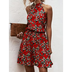 Sleeveless Print Stand Collar A-Line Women's Dress