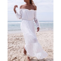 Off Shoulder Floor-Length Patchwork Summer Women's Dress