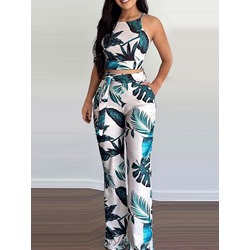 Fashion Pants Patchwork Wide Legs Women's Two Piece Sets